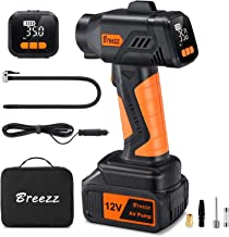 Breezz Cordless Tire Inflator, Portable Air Compressor with Digital Pressure Gauge Air Pump Including Rechargeable Li-ion Battery and 12V Car Power Cord