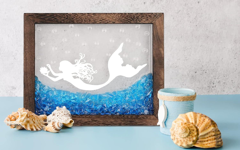 VANTLIN Mermaid Window Ocean Glass Art, Framed Beach Theme Decor 10