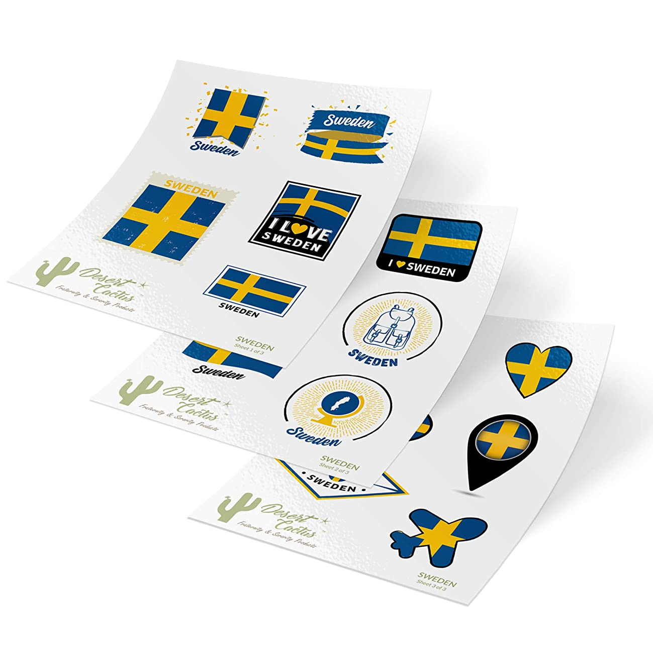 Sweden Country Flag Stickers Decals 3 Sheets 17 Total Pieces Kids Logo Scrapbook Car Vinyl Window Bumper Laptop 3 Sheets