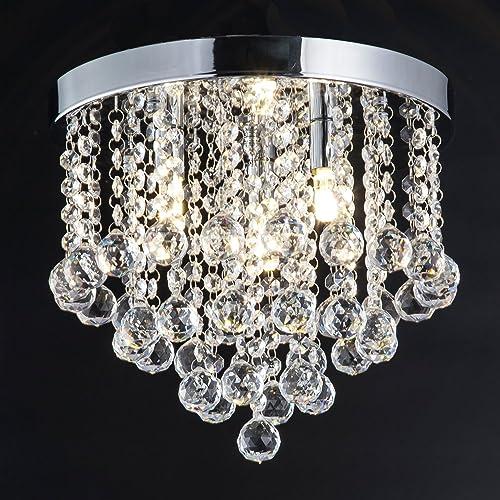 ZEEFO Crystal Chandelier, Modern Chandeliers Crystal Ball Light Fixture, 3  Lights, Flush Mount