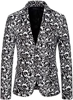 Men's Slim Fit Peak Lapel Floral Blazer Two Buttons Prom Party Jacket Dinner Coat