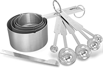 GeeRic Meetbekers en maatlepels Set, Set van 10 roestvrijstalen maatbekers en maatlepels met meetliniaal voor bakken, keuk...