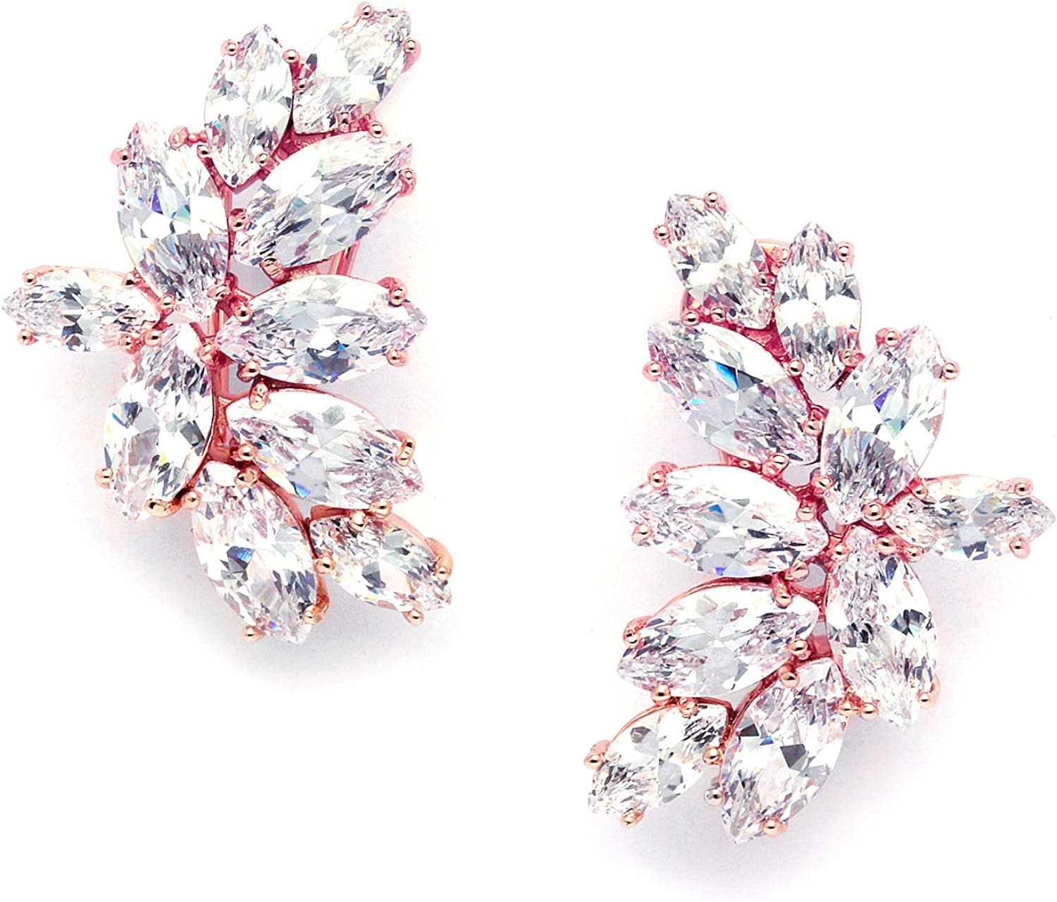 Mariell Blush Rose Gold Clip On CZ Earrings with Marquis-Cut Clusters - Bridal, Wedding, Mother of Bride