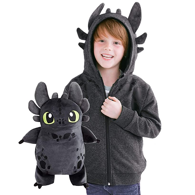 Cubcoats Toothless Dragon - 2-in-1 Transforming Hoodie & Soft Plushie - How to Train Your Dragon - Glow in The Dark Grey