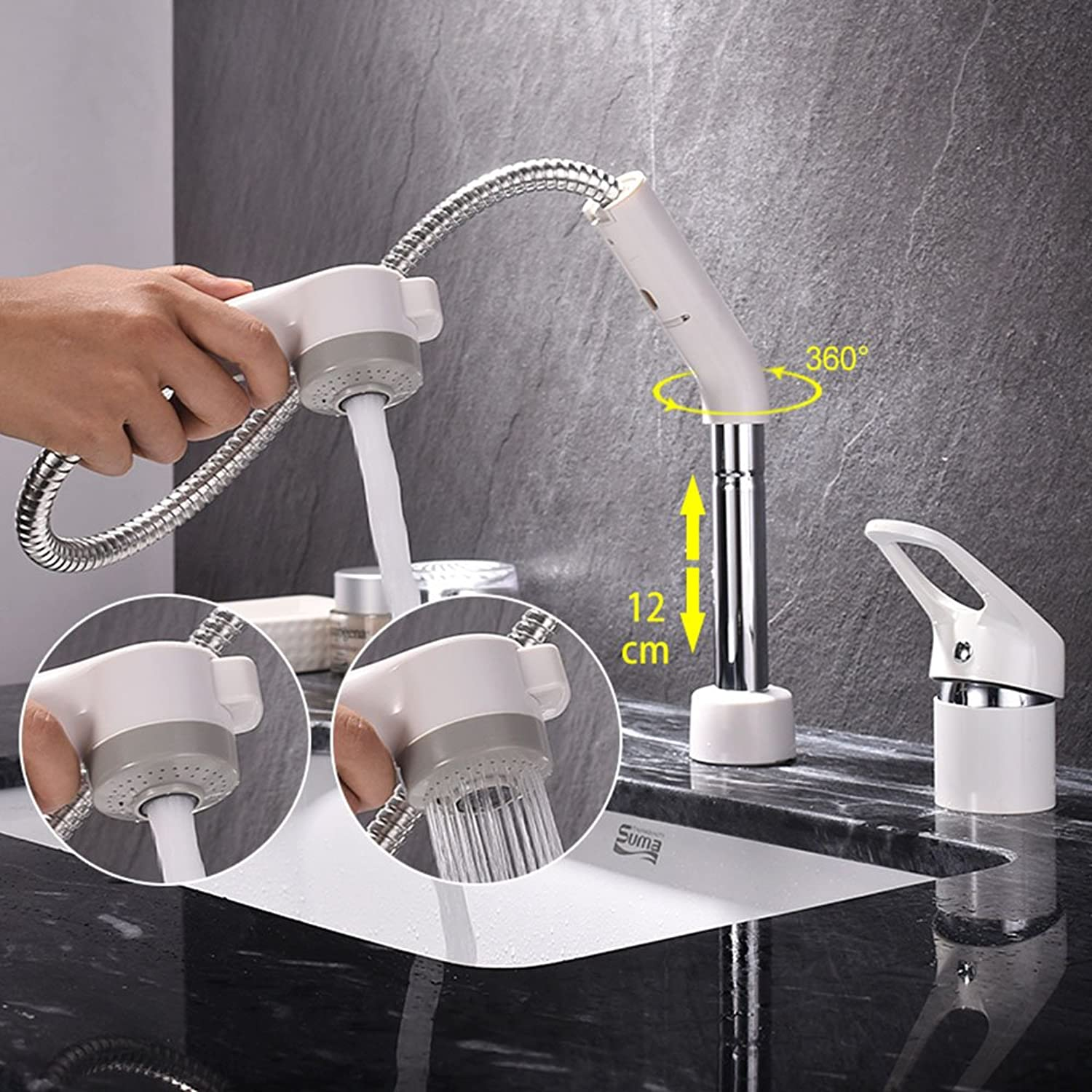 Jruia 2?Hole Design White Bathroom Pull Out Bathroom Sink Tap Single Lever Mixer Tap, Swivel range 360