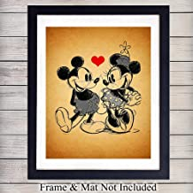 Mickey Mouse and Minnie Mouse in Love Vintage Wall Art Print - 8X10 Vintage Unframed Photo - Perfect Gift For Disney Fans, Great For Home Decor