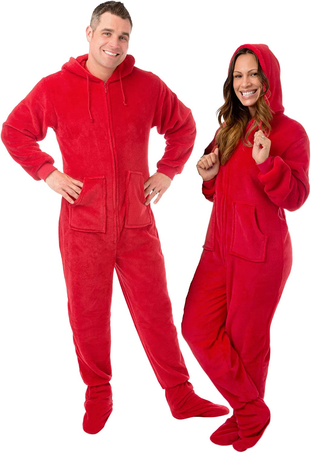 Hoodie Footed Onesie Red Plush Drop Seat Footed Pajamas with Butt Flap