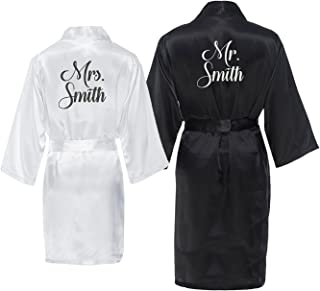 Mr. and Mrs. Personalized Robe Set with New Last Name Black, White