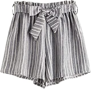 Women's Casual Striped Elastic Waist Self Tie Shorts