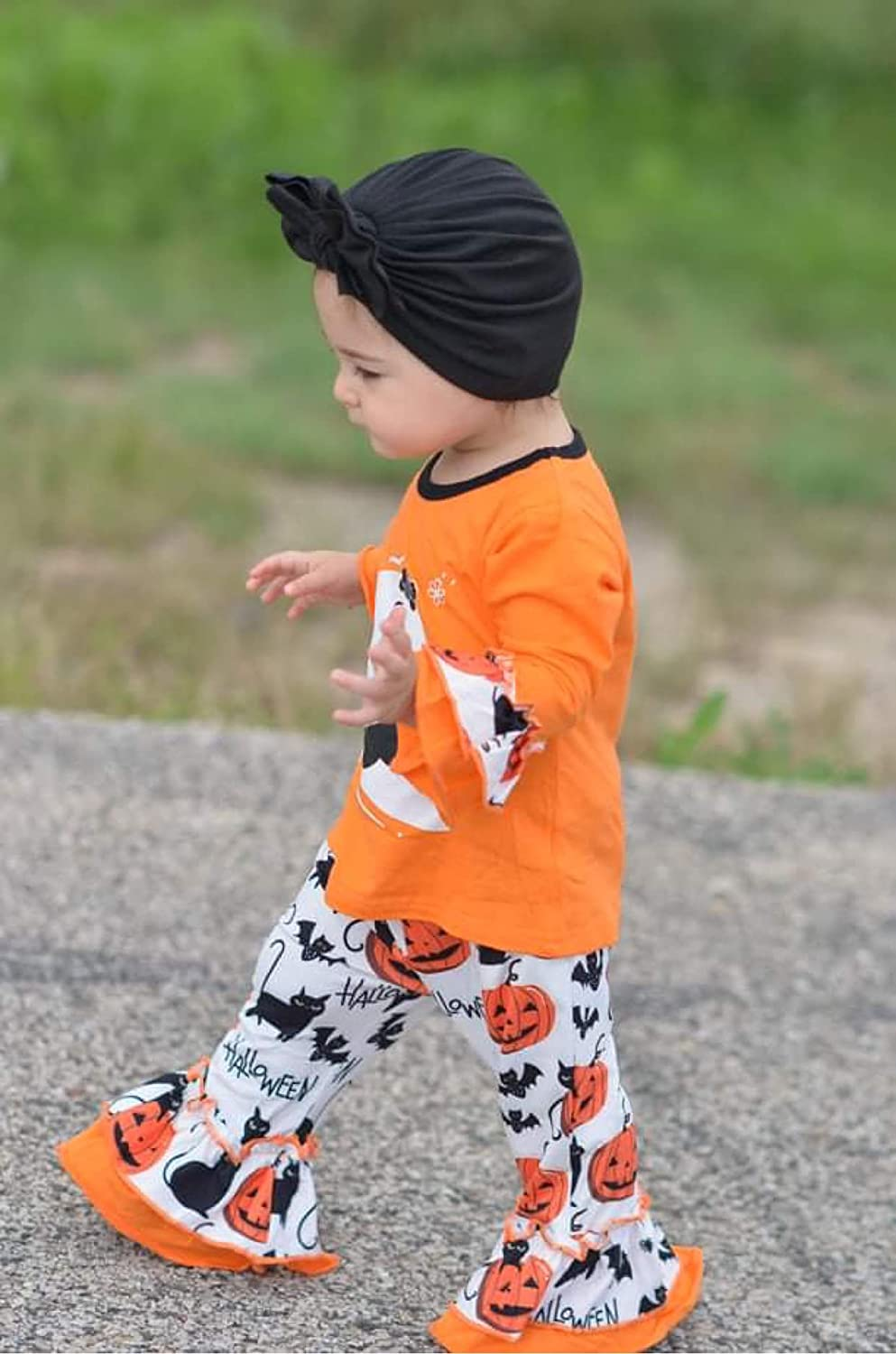 Toddler Baby Girls Halloween Outfits Smiley Ghost Flare Sleeve Top Pumpkin Bell Bottom Pants Set
