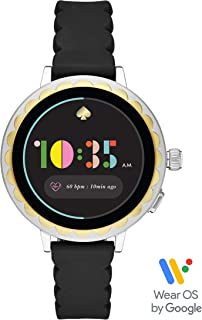 Kate Spade New York Women's Scallop 2 Stainless Steel Touchscreen smartwatch Watch with Silicone Strap, Black, 16 (Model: KST2008)