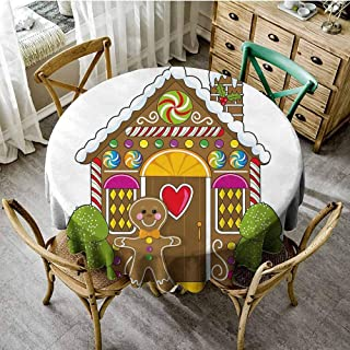 ScottDecor Gingerbread Man Picnic Cloth Cute Gingerbread House Decorated with Colorful Candies Man Graphic Figure Beach Round Tablecloth Multicolor Diameter 60