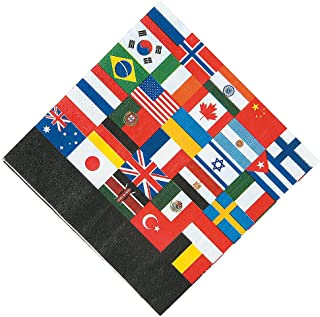 FLAGS OF ALL NATIONS BEV NAPKINS - Party Supplies - 16 Pieces