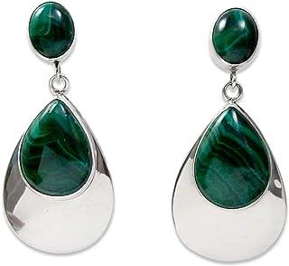 Navajo Silver Malachite Post Dangle Earrings Native American