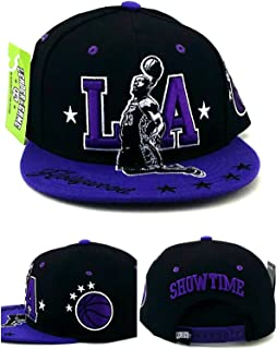 Los Angeles LA King New Leader James MVP Showtime Hollywood Starred Basketball Black Purple Era Snapback Hat Cap