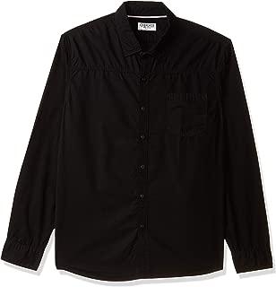 CHEROKEE Men's Solid Regular Fit Casual Shirt (400017772103_Black_XL)