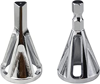 Hanperal Deburring External Chamfer Tool, 2pcs Deburring Drill Bit,Stainless Steel Remove Burr chamfer drill(Hexagon Shank + Triangle handle)