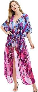 Tyidalin Femme Cardigan Plage Paréo Robe Kimono Maxi Longue Eté Mousseline Cache-Maillot de Bain Imprimé