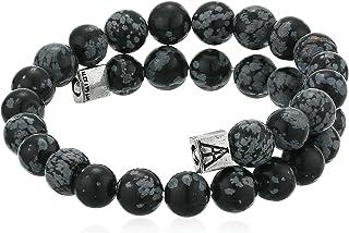 Alex and Ani A19MENWR05RS Women's Men's Gemstone Wrap Snowflake Obsidian Bracelet, Rafaelian Silver