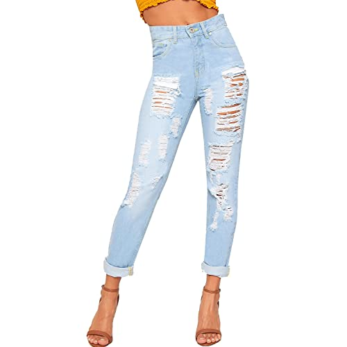 e772849dc85 WearAll Women's Extreme Ripped Distressed Wide Leg Mom Jeans New Ladies  Trousers Pants ...