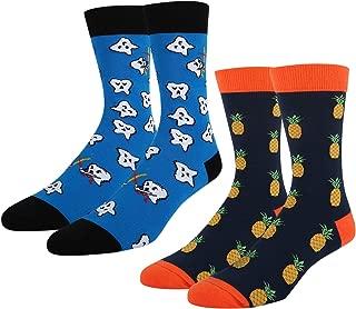 Men Novelty Dress Funny Crazy Colorful Crew Socks Value Pack