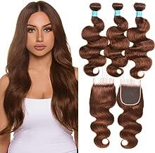 JulyQueen Virgin Brazilian Human Hair 3 Bundles with 4x4 Lace Closure Body Wave Medium Brown Human Hair Weaves Extensions with Closure(14 16 18+12closure,Color 4)