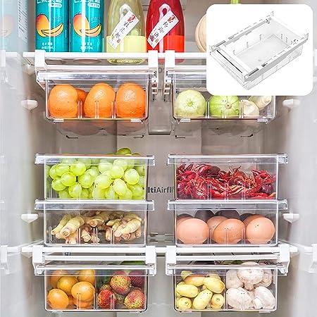 Boîte De Rangement pour Réfrigérateur À Tiroir, Rangement Frigo, Boîte de Rangement Rransparente pour Aliments Frais en Plastique, Boîte de Organiseur de Frigo, pour Tiroir de Réfrigérateur, Cuisine