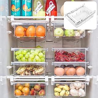 Boîte De Rangement pour Réfrigérateur À Tiroir, Rangement Frigo, Boîte de Rangement Rransparente pour Aliments Frais en Pl...