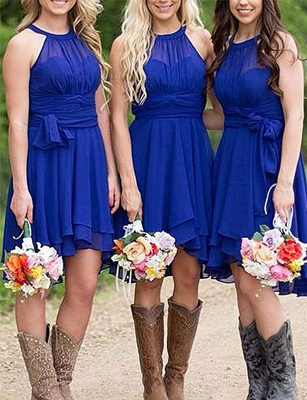 Gemila Womens Short Country Western Wedding Guest Gown Bridesmaid Dresses