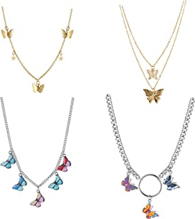 LOLIAS 4 Pcs Butterfly Choker Necklaces for Women Gold Tone Colorful Butterfly Necklaces Star Butterfly Dainty Pendant Cha...