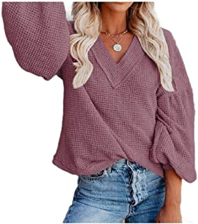 Zimaes Womens Knitted V Neck Fall Winter Cozy Relaxed Puff Sleeve T-Shirt Top