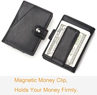 Purfit Design-Buffalo ID Bifold Genuine Leather Minimalist Slim Wallet Front Pocket Wallet with Money Clip & Security Closure