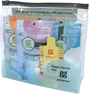 Grab Green Travel Size Natural Cleaning Kit, 7 Piece with Reusable TSA Travel Bag