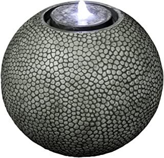 """Pebble Sphere 19"""" Fountain w/LED Light: Large Ball Water Feature, Indoor/Outdoor, Garden Fountain, Patio Fountain HF-S04-19L"""