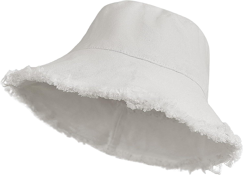 Women-Distressed-Bucket Hat Denim Wide-Brim Beach Packable Sun Hat
