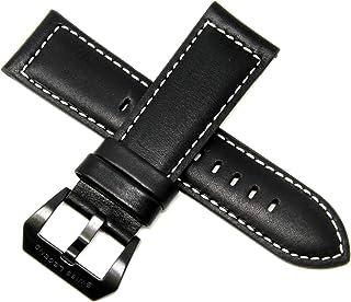 Swiss Legend 26MM Black Leather Watch Strap, Black Buckle fits 52mm Pilot & Highlander Watch