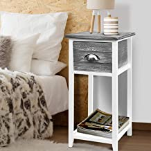 Artiss Bedside Table, Wooden Sofa Side Table 63cm Height, Grey