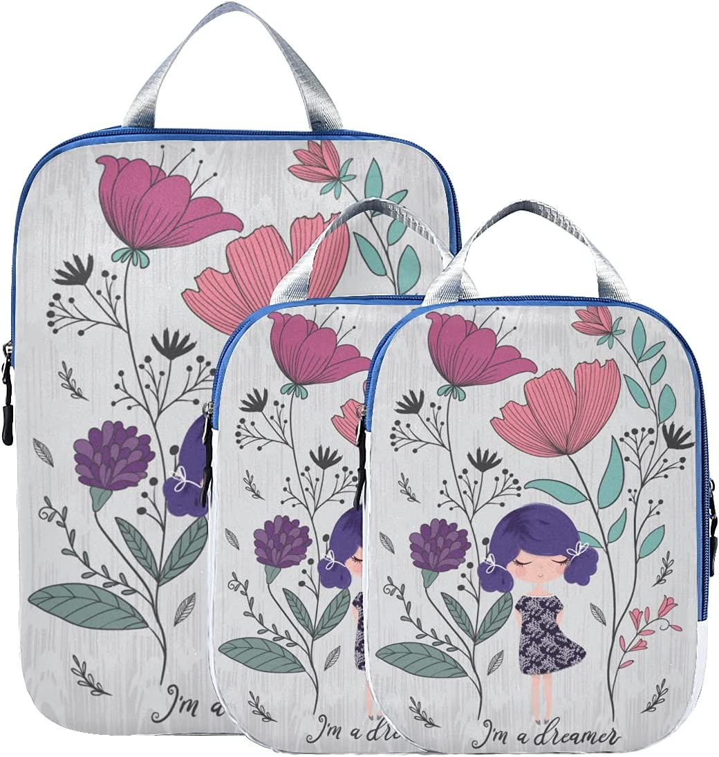 Dallas Mall Packing Cubes For Traveling Elegant Beautiful With L Flower Lady Spring new work