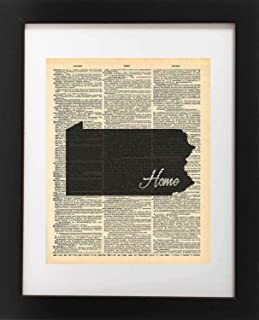 Pennsylvania State Vintage Map Vintage Dictionary Print 8×10 inch Home Vintage Art..