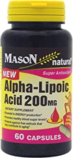 MASON NATURAL, Mason Alpha Lipoic Acid 200 Mg Capsules, 60Count