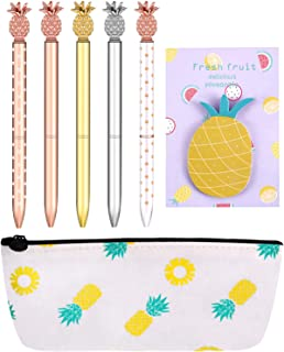 Set of 7 Pineapple Pens Pineapple Metal Ballpoint Pens with Pineapple Pencil Pouch Bag and Pineapple Note Sticker for Office School Supplies
