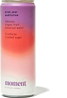 Moment Botanical Water (Hibiscus Dragon Fruit). Healthy & Natural Floral Tea with hint of Cinnamon. L-Theanine and Ashwaga...