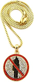 Red Stone Stud Border Mini Rapper Monster Logo Pendant w/ 24