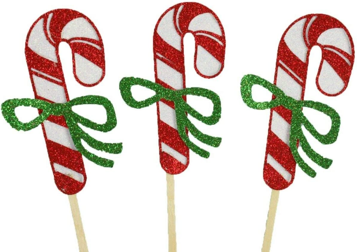 Pack of 12 Glitter Candy Cane New popularity Toppe 2-1 Cupcake outlet SRAu Design 2