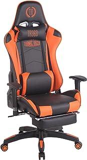 CLP Silla Gaming Turbo En 3 Tapizados Disponibles I Silla Gamer Giratoria & Regulable En Altura, Color:Negro/Naranja, Material:Cuero Sintetico
