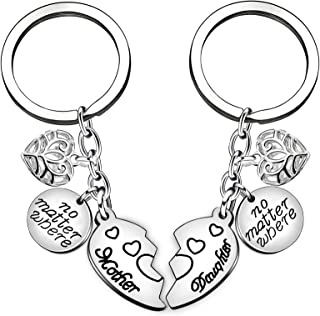 FANQIEJIANG 2pcs Mom Mommy Gift Women Girl Key Chain Ring Set - No Matter Where Mother Daughter Love Forever Pendant