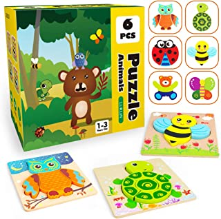 Wooden Jigsaw Puzzles for Toddlers, 6 Pack Animal Puzzles with Bonus Cognitive Cards, Preschool Toys for Ages 2, 3 Years Old Kids, Boys & Girls