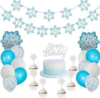 Winter Wonderland Frozen Happy Birthday Banner Cake Cupcake Topper Aluminum Foil Snow Blue White Confetti Balloons Party Supplies