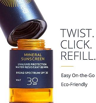 Brush on Block Mineral Sunscreen Powder, Refillable Broad-Spectrum SPF 30, Safe for Sensitive Skin, UVA UVB Face Prot...