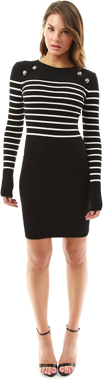 PattyBoutik Women's Military Striped Crewneck Sweater Dress